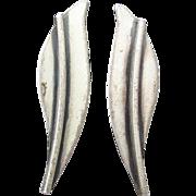 Sterling Silver Modernist 1950's Signed Jewel Art Long Narrow Vintage Leaf Earrings
