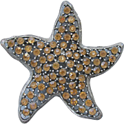 Big Sparkling Vintage Signed WEISS Amber Rhinestone StarFish Pin