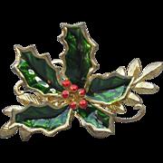 Vintage Enamel HOLLY Gold Tone Christmas Pin