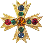 Signed NAPIER Jewel Tone Rhinestone Vintage Maltese Cross Pin