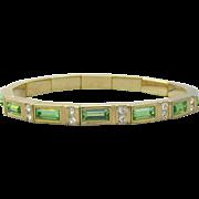 Signed Nolan MILLER Vintage Green Rhinestone Stretch Bracelet