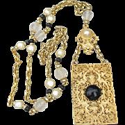1990's Vintage Etruscan Revival Long Gold Tone Filigree Pendant Necklace