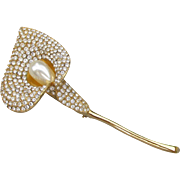 "Signed NAPIER Big 4 1/2"" Long Vintage Rhinestone Calla Lily Flower Pin"