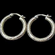 Engraved Gold Filled Sterling Silver Hoop Vintage Pierced Earrings