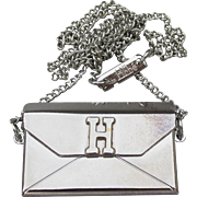 RARE Signed Hobe' Envelope Clutch Purse Pendant 1970's Vintage Silver Tone Necklace