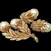 Signed TRIFARI Vintage 1960's Big Faux Pearl Flower Pin & Earrings Set