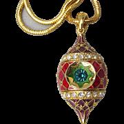 Vintage Christopher RADKO Rhinestone & Enamel Christmas Ornament Necklace
