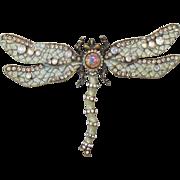 1990's Vintage Joan Rivers DRAGONFLY Pin, Aurora Borealis Rhinestone & Faux Opal Glass