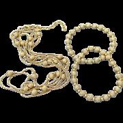 "1990's Vintage Joan Rivers Gold Tone Bead & Chain 60"" LONG Necklace & 2 Stretch Bracelets Set"