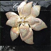 1970's Vintage Signed EISENBERG Ice Christmas Rustic Gold Tone & Rhinestone Poinsettia Flower Pin