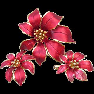 Signed CERRITO Vintage Red Enamel Christmas Poinsettia Pin & Earrings Set