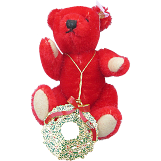 Steiff Red Christmas Bear with Ornament