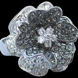 1990's Vintage Signed NOLAN MILLER Black Rhinestone ROSE Ring, Size 7