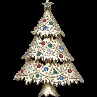 1970's Vintage Signed EISENBERG Ice Rhinestone Christmas Tree Pin, MINT On Card