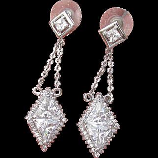 Dazzling Signed Nolan Miller 1990's Vintage Dangle Silver Tone Trilliant CZ Party Earrings