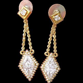 Dazzling Signed Nolan Miller 1990's Vintage Dangle Gold Tone Trilliant CZ Party Earrings