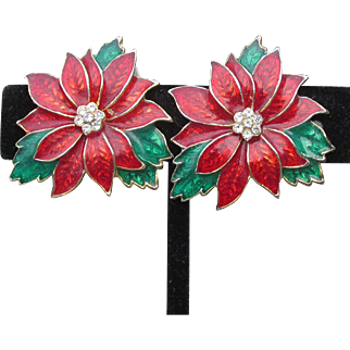 Beautiful Vintage Enamel & Rhinestone Christmas Poinsettia Pierced Earrings