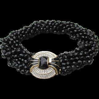 Signed Kenneth Lane Vintage 1980's Nine Strand Black Crystal Torsade Necklace, Deco Rhinestone & Enamel Clasp