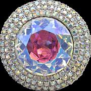 Vintage Signed WEISS Huge Aurora Borealis Rhinestone Silver Tone Pin