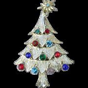 Christmas Tree Pin, Vintage Multi-Color Rhinestone Signed PIM