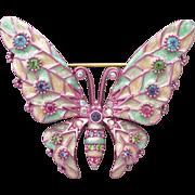 Vintage Joan Rivers Pink Pastel Fantasy Enameled Rhinestone BUTTERFLY Pin