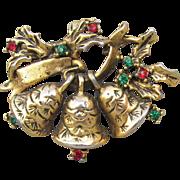 Pretty Christmas Pin, Vintage Three Bells Red & Green Rhinestone Holly