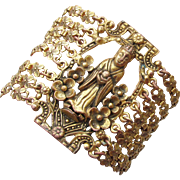 Early 20th Century Antique Chinese Export Wide Gilt Brass Figural Deity Bracelet