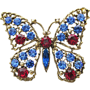 Signed WEISS Sapphire Blue & Ruby Red Rhinestone Big BUTTERFLY Gold Tone Pin