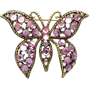 Signed WEISS Pretty Vintage Pink Rhinestone BUTTERFLY Pin