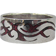 New Vintage 1980's Native American Navajo DRAGON Inlaid Red Coral Chip Ring, Unisex Men's Size 11