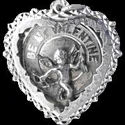Big Vintage 1960's Sterling Silver 3-D Figural Cupid Valentine Heart Charm