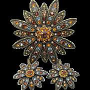 1990's Vintage Joan Rivers Bronze Amber Swarovski Rhinestone DAISY Pin & Earrings Set