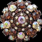 1990's Vintage Joan Rivers BIG Amber Glass & Pink AB Rhinestone Copper Pin