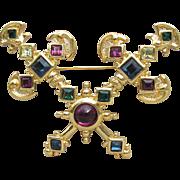 BIG Vintage Signed MVH Michaela Von Habsburg Swords Crown Jewels Collection Vintage Pin