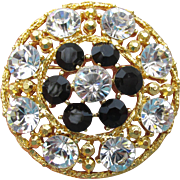 Signed WEISS Vintage Brilliant Crystal & Black Rhinestone Gold Tone Circle Pin