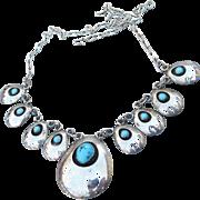 Native American Navajo Sterling Silver Vintage Bear Claw Shadow Box Necklace