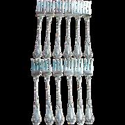 RARE! Antique Sterling Silver Gorham POPPY 1902 Set of 12 Oyster or Shrimp Forks