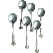 RARE! 6 Antique Vintage GRAPE Pattern Silverplated Bouillon Soup Spoons by 1847 Rogers Bros.