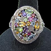 BIG Oval Multi Gemstone Sterling Silver Ring, Size 6 Amethyst, Citrine, Peridot, Garnet, Blue Topaz