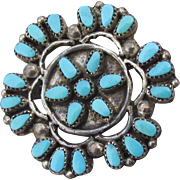 Early Vintage ZUNI Native American Petit Point Sterling Turquoise Hand-Made Pendant or Pin