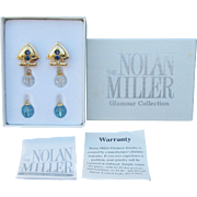 "MIB! Vintage 1990's Nolan Miller ""Companion Set to Essential Earring Wardrobe"" Interchangeable Pierced Dangle Crystals"