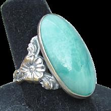 Big Oval 1920's UNCAS Peking Glass Faux Jade Ring, Size 6