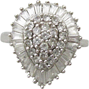 Sterling Silver Vintage Rhinestone Tear Drop Cocktail Ring, Size 7