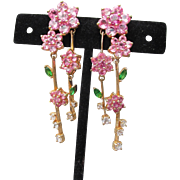 Exquisite Vintage Pink Cubic Zirconia Gold Plated Sterling Silver Dangle Flower Pierced Earrings