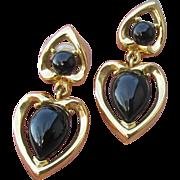 TRIFARI 1980's Vintage Black Cabochon Double Heart Dangle Pierced Earrings