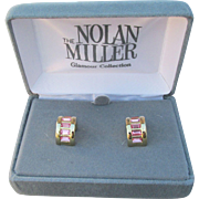 New In Box, Nolan Miller 1990's Vintage Pink Rhinestone Demi Hoop Pierced EArrings
