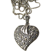 Pretty Vintage 1980's Sterling Silver & Marcasite HEART Pendant Necklace
