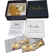 NEW In BOx!  1990's Vintage CAROLEE Celestial Watch Pendant Necklace with 17 Charms