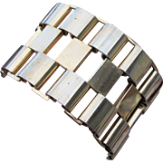 """FAB 2"""" Wide Ultra Modern 1950's Abstract Gold Tone Bracelet"""