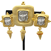 Creepy Cool Etruscan Revival 1990's Vintage FACE Pin & Earrings Set